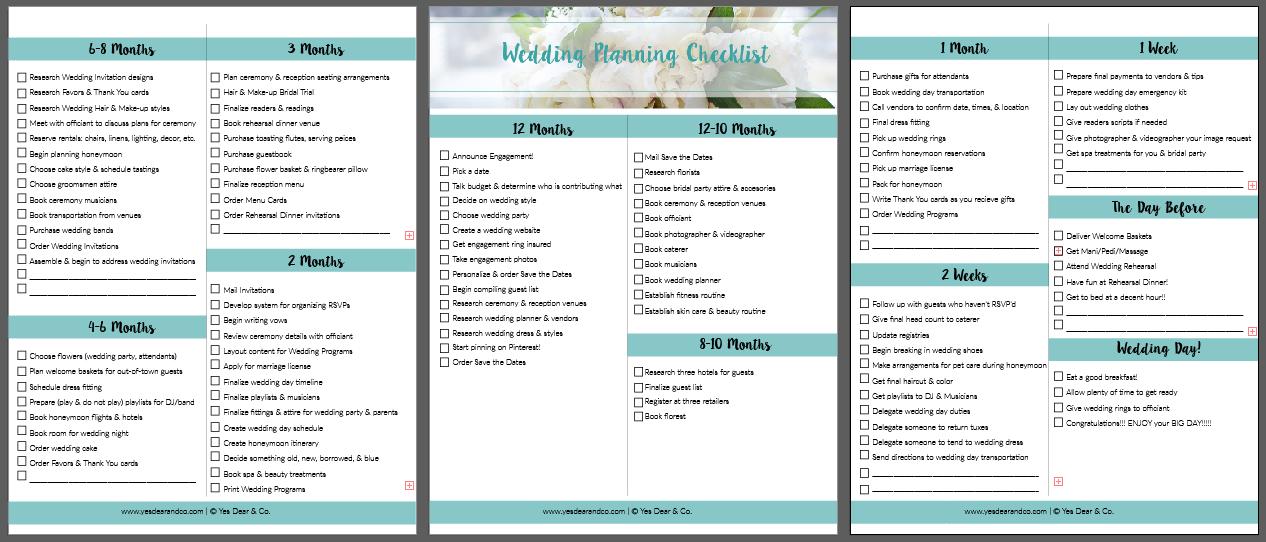 The Wedding Planning Checklist Yes Dear Co